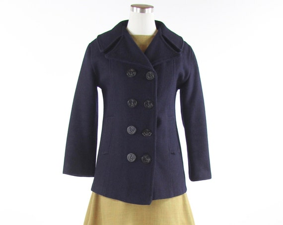 Women's Peacoat Navy Blue Vintage Winter Coat Size Small