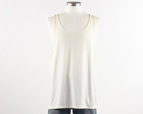 Plain White Tank Top Tee Shirt 90's Vintage Muscle Tee Vintage Size Medium