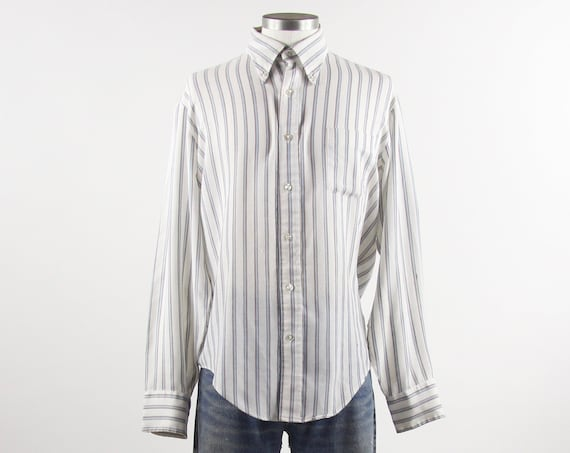 Striped Work Shirt White & Blue Men's Vintage Button Down Size Medium Large