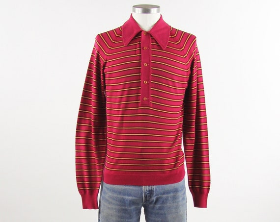 Men's 70's Red Striped Shirt Vintage Polo Long Sleeve Pullover Shirt Size Medium