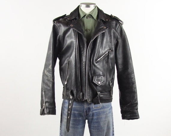 Black Leather Jacket Biker Jacket Classic Vintage Motorcycle Coat Punk Grunge Ramones Size Medium