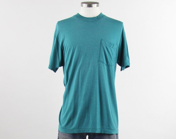 Teal Aqua Pocket Tee Paper Thin Distressed Soft Pocket T-shirt Vintage Size Medium