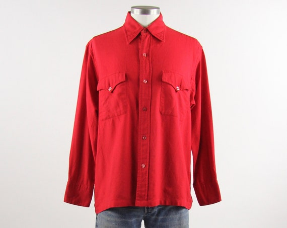 Red Saks Fifth Avenue Vintage Wool Button Down Shirt Size Medium
