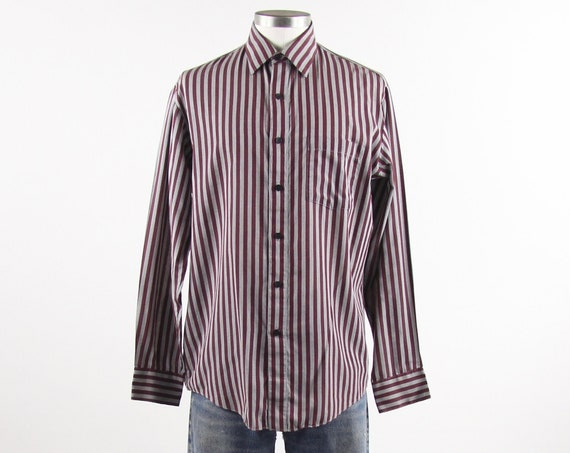 Maroon Striped Shirt Men's Vintage Button Down Dress Shirt Size Medium