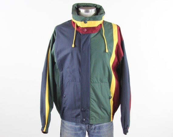 Nautica Men's Jacket Vintage Hooded Coat Streetwear Color Block Track Jacket Size Medium