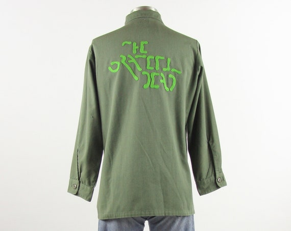 Grateful Dead Chainstitch Embroidery Shirt / Vintage Military Long Sleeve Shirt / Men's Size Medium