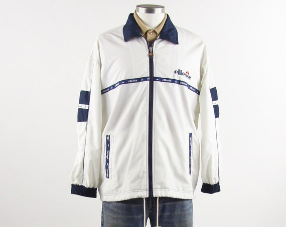 Ellesse White Jacket Vintage Track Tennis Zip Up Vintage Size Medium
