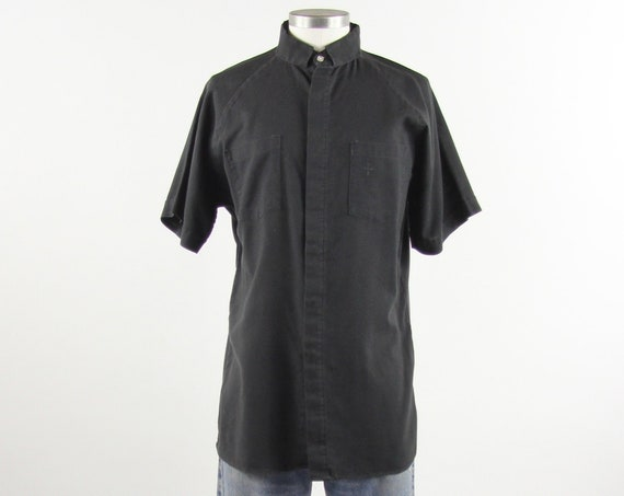 Priest's Black Shirt Vintage Clergy Shirt Men's Size Large
