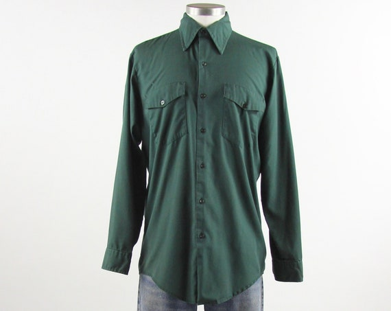 Men's Work Shirt 60's Button Down Green Utility Work Shirt Size Medium