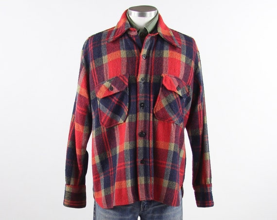 Men's Plaid Flannel Shirt Red Button Up Jacket Vintage Size Medium