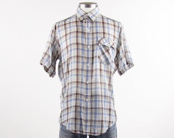 Levi's Plaid Shirt Blue Brown Button Down Short Sleeve Dress Shirt Vintage Size Medium