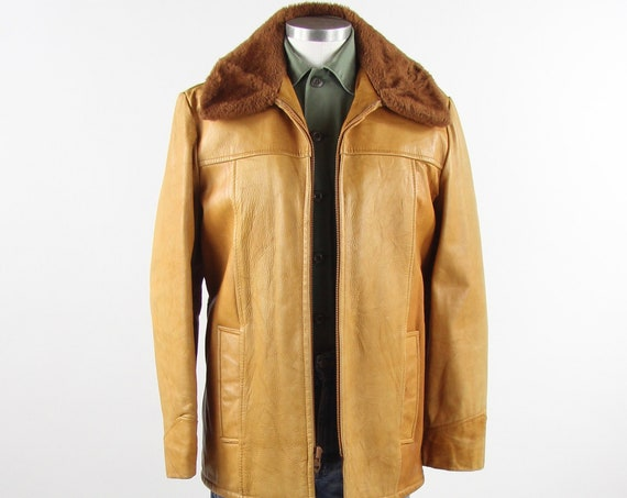 70's Tan Leather Men's Coat Thick Heavy Leather Farm Jacket Men's Medium Large 40 Made in the USA