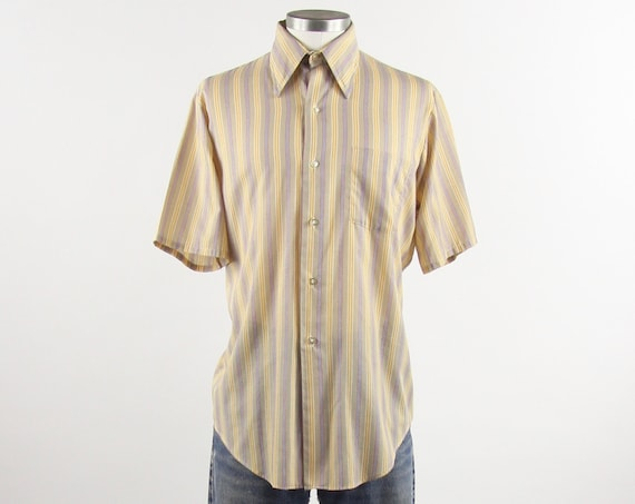 Yellow 60's Striped Shirt Men's Vintage Button Down Size Medium
