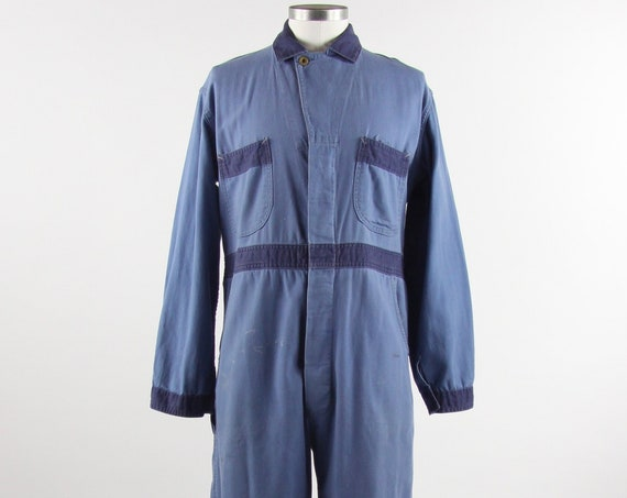 Mechanic Jumpsuit Coveralls Blue Work Suit Men's Uniform Vintage Size Medium Large 40