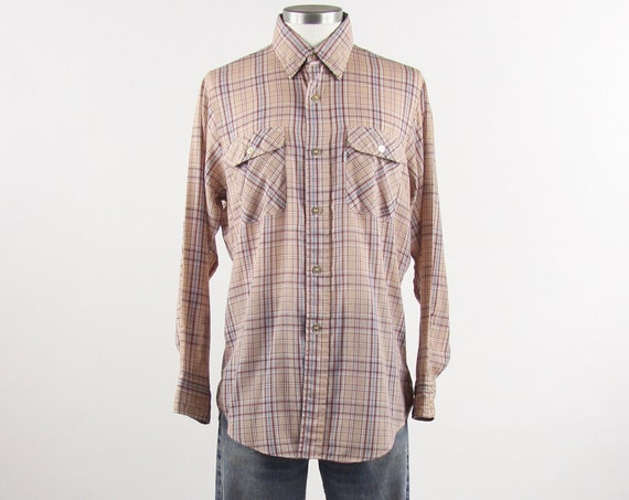 Levi's Vintage Shirt White Tab 70's Long Sleeve Men's Button Down Shirt Maroon Plaid Size Medium Made in USA