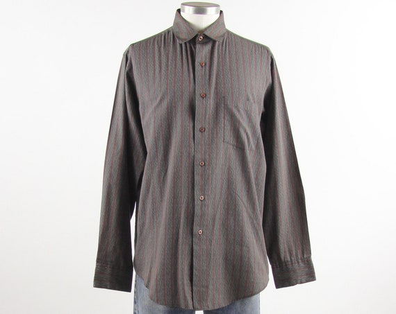 Vertical Striped Shirt Men's Maroon Button Down Shirt Vintage Size Large