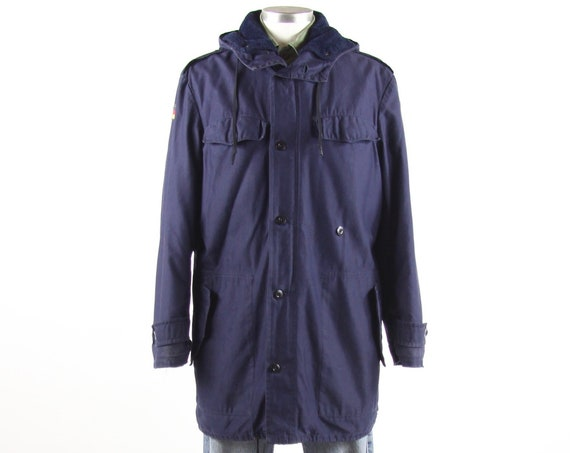 German Men's Navy Blue Military Winter Hooded Long Coat Vintage Size Medium Large