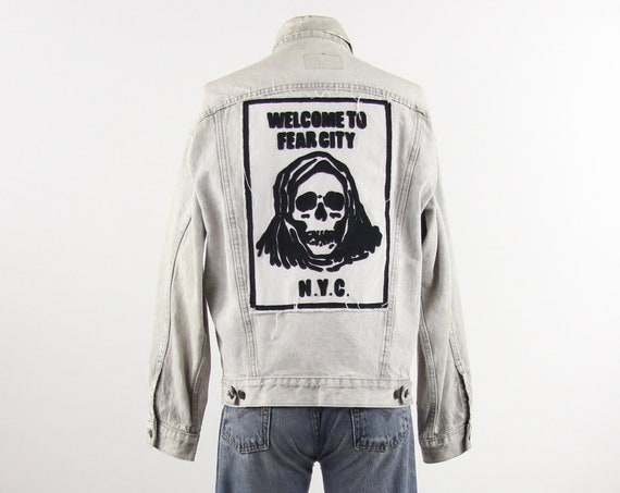 Welcome to Fear City Vintage Levis Jean Jacket / Custom Chainstitch Embroidery / Grey Size Large
