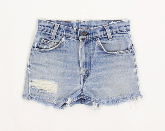 Levi's 70's Jean Shorts Orange Tab High Waisted Jorts Distressed Grunge Hippie Shorts Vintage Size 28.5""