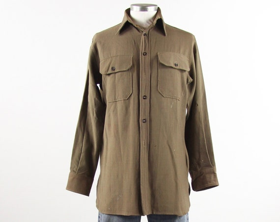 Australian Military Shirt Men's Long Sleeve Button Down Work Uniform Vintage Size Medium