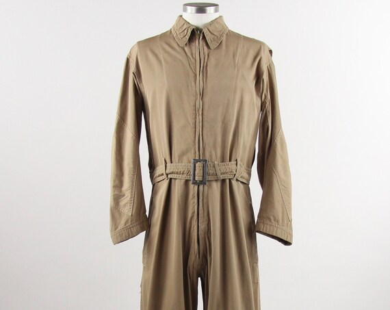 U.S. Navy Coveralls Brown Tan Work Suit Vintage Men's Size Medium