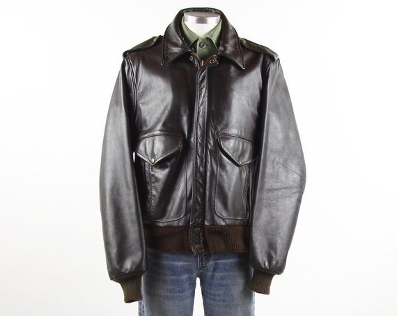 Leather Bomber Jacket Dark Brown Motorcycle Coat Vintage Size Medium Large