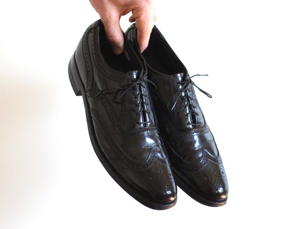 Black Men's Wingtip Florsheim Vintage Oxford Shoes Size 9 Dress Shoes Black Leather