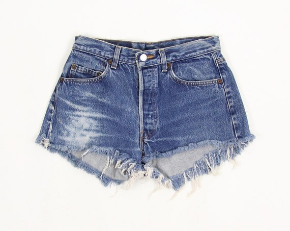 Levi's Jean Shorts Vintage High Waisted Dark Wash Denim Cut Off Shorts Made in the USA Size 30
