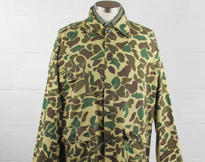 60's Camouflage Hunting Jacket Cotton Long Sleeve Shirt Vintage Size Medium Large