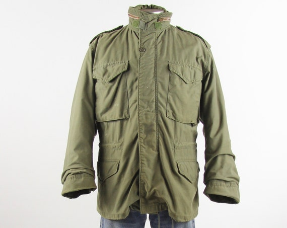 M51 Field Jacket Men's Olive Green Military Vietnam Coat Heavy Insulated Lining Jacket Vintage Size Medium Large