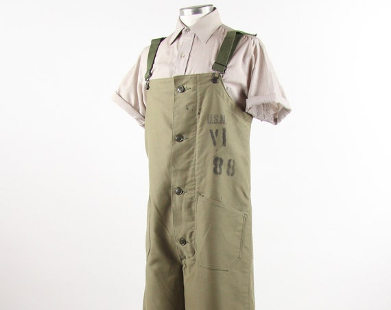 WWII USN Wool Overalls Deck Uniform Military US Navy Green Wool Lined Coveralls Vintage Size Medium