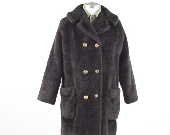 Women's 70's Coat Thick Fuzzy Peacoat Jacket Vintage Size Medium Large