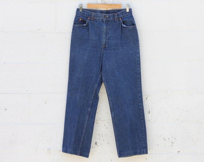 """RARE Vintage Dark Wash High Waisted Levi's White Tab Denim Jeans Size 29"""""""