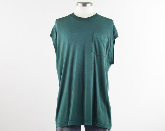 Teal Pocket Tee Distressed Vintage Sleeveless Pocket T-shirt Size Large