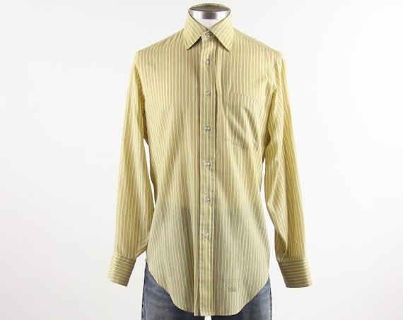 Arrow Men's Shirt Striped Yellow Vintage 60's Soft Button Down Dress Shirt Size Medium