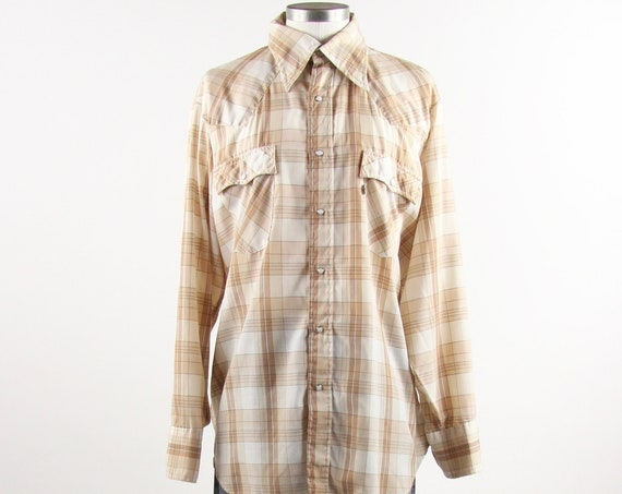 Levi's Western Shirt Cream White Khaki Vintage Button Down Long Sleeve Shirt Size Large XL
