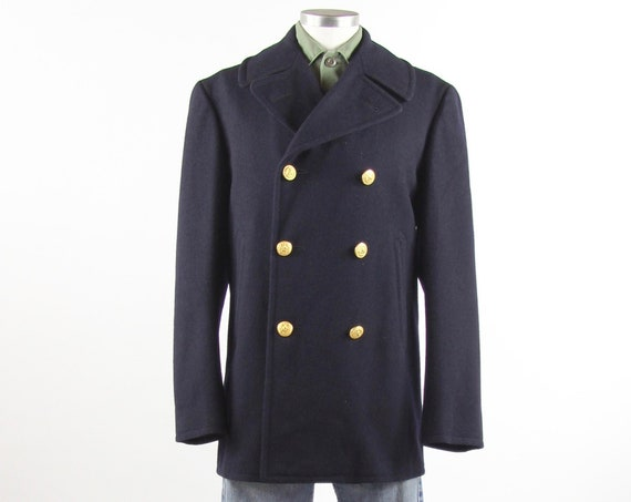 US Navy Peacoat Blue Military Winter Jacket Sailor Coat with Gold Buttons Size Medium