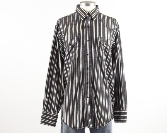 Western Wrangler Black and White Vertical Striped Shirt Vintage Size Large