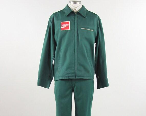 Coke Delivery Uniform Men's Two Piece Coca-Cola Work Mechanic Vintage Suit Pants Jacket Size Large Extra Large XL 37