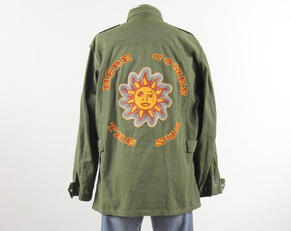 Orange Sunshine - Here Comes the Sun Jacket / Custom Chainstitch Embroidery Vietnam Field Jacket / Size Large