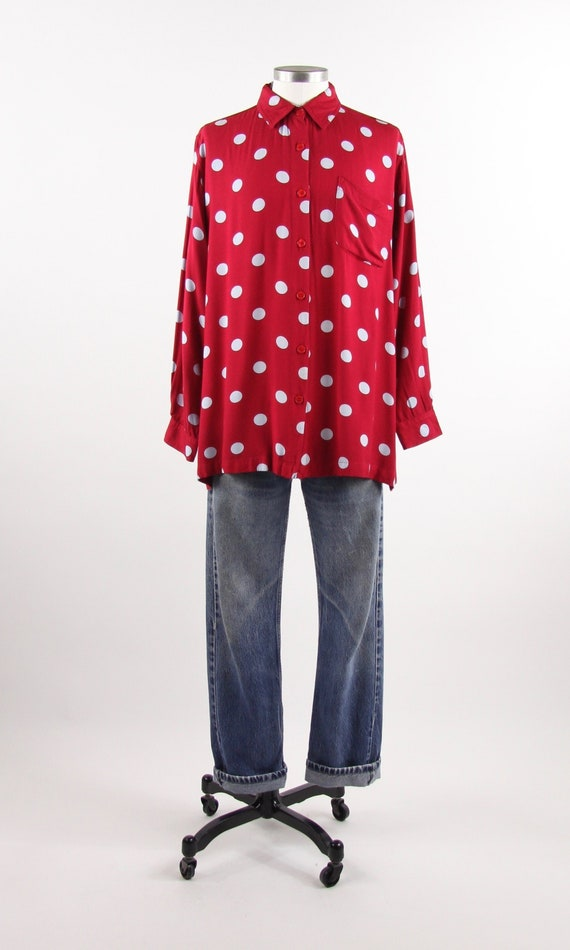 Men's Red and Blue Polka Dot Shirt Vintage Button Down Size Medium Large