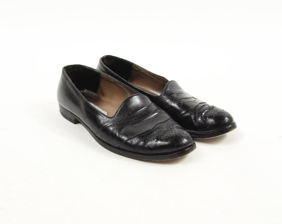 Bally Men's Slip On Black Dress Shoes Vintage Size 9.5 Made in Switzerland