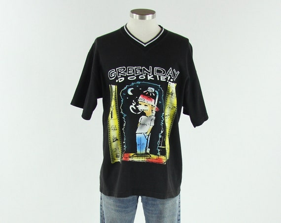 Green Day Dookie Vintage V-Neck T-shirt Band Tee Size Medium