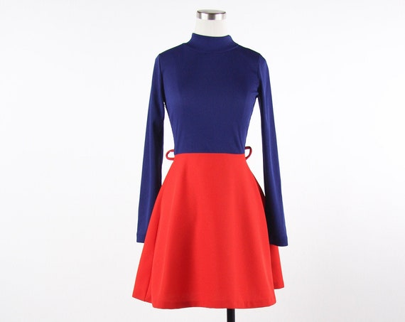Women's Long Sleeve Short Polyester Mod Red and Blue 60s Dress
