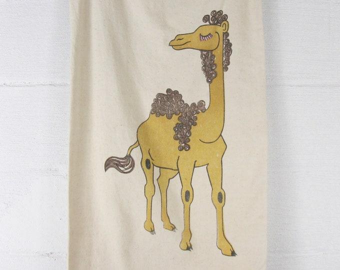 Vintage Laundry Bag 70's Camel Canvas Clothing Bag Drawstring