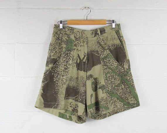 Vintage Men's Hunting Shorts Africa Print with Large Pockets Size 31