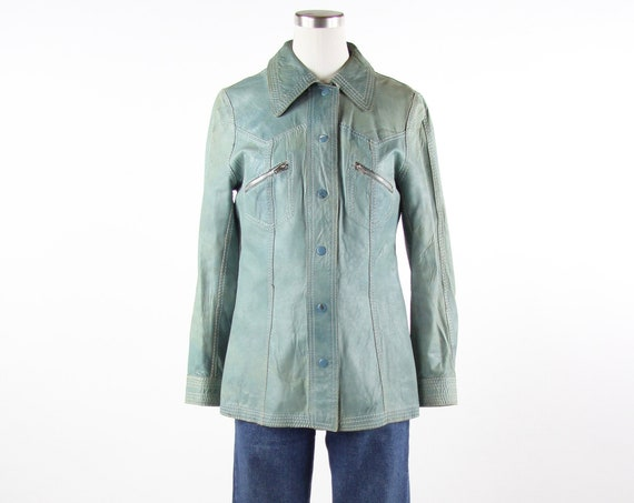 Reversible Teal Green Women's 70s Leather Shirt Jacket