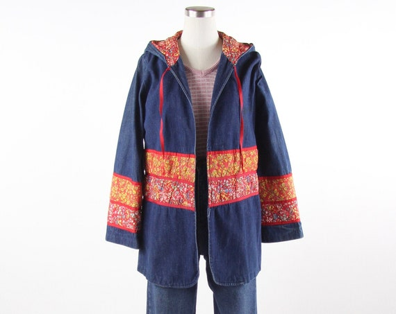 RARE 70's Women's Jean Jacket with Hood and Belt Floral Quilted Coat Vintage Size Medium
