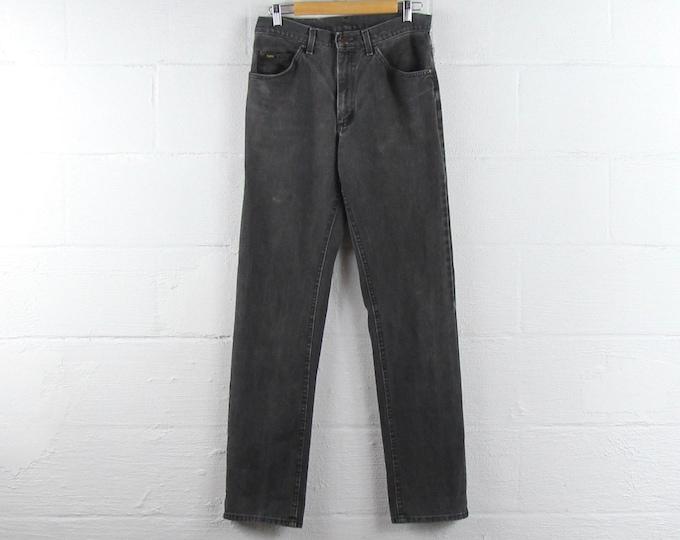 Vintage Faded Black Jeans Lee Straight Leg Dark Wash Pants 31 x 33.5