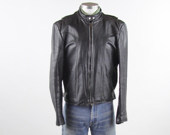 Cafe Racer Jacket Black Mod Men's Jacket 60's Leather Coat Vintage Motorcycle Jacket Size Medium